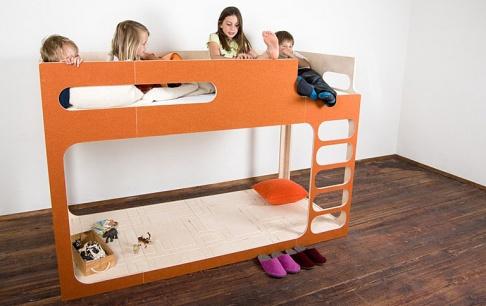 kinderhochbett amber in the sky mit lodenbezug sch ner wohnen. Black Bedroom Furniture Sets. Home Design Ideas