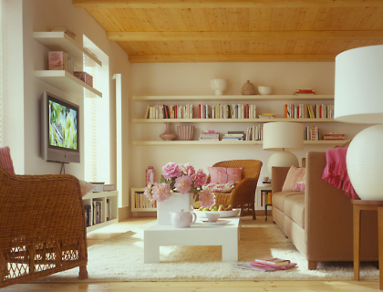 Wohnzimmer mit vielen t ren sch ner wohnen for Wohnzimmer mit holzdecke einrichten