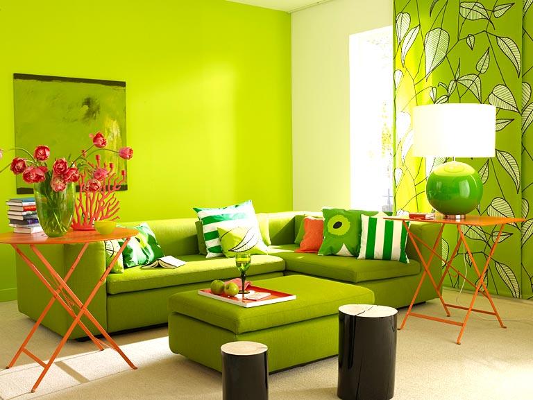 Wohnen mit farben gr n total im wohnzimmer sch ner - Wohnzimmer trendfarben ...