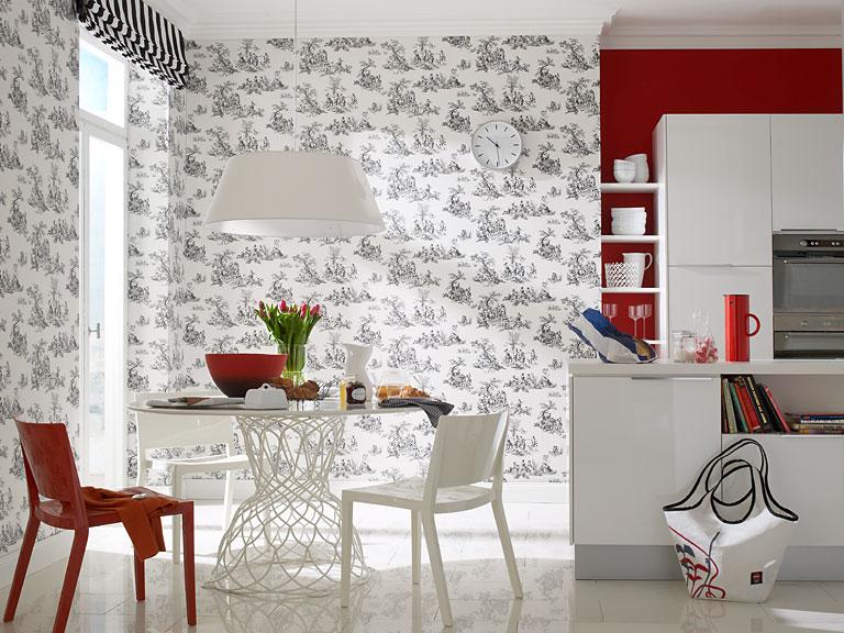 w nde gestalten tapete mit franz sischem flair toile de jouy von rasch bild 19 sch ner. Black Bedroom Furniture Sets. Home Design Ideas