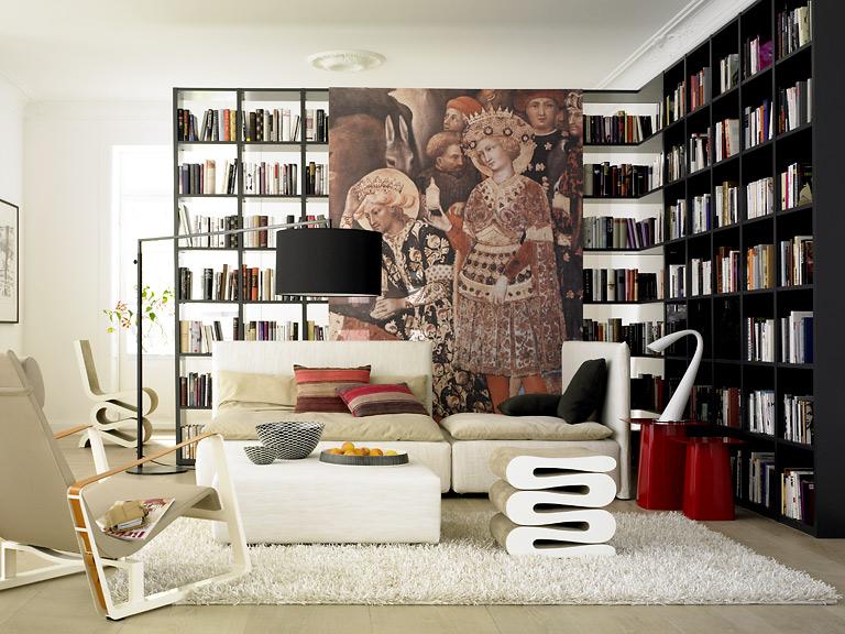 einrichten flexibel regalsystem studimo von interl bke mit sofa shiraz von e15 und sessel. Black Bedroom Furniture Sets. Home Design Ideas