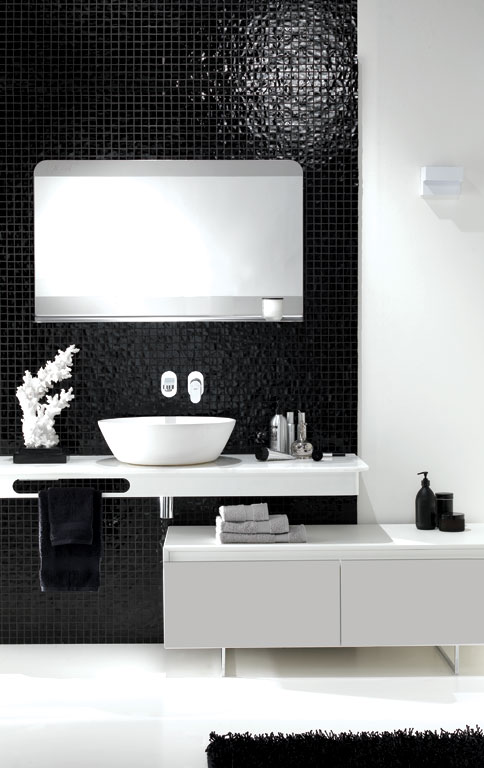 einrichten: schwarz-weiß fürs bad - [schÖner wohnen] - Bad Schwarz Wei Gefliest