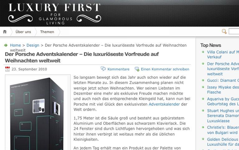 adventskalender von porsche f r eine million sch ner. Black Bedroom Furniture Sets. Home Design Ideas