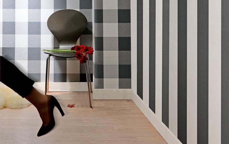 tapeten mit karos und streifen tipp des tages sch ner wohnen. Black Bedroom Furniture Sets. Home Design Ideas