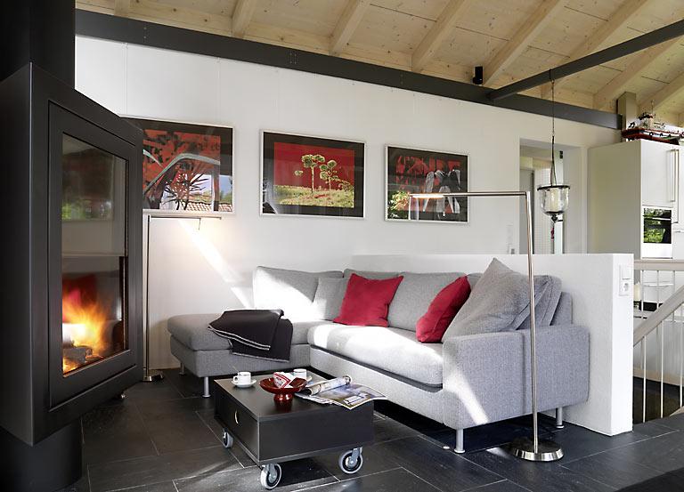 zugseile statt dachbalken einfamilienhaus sch ner wohnen. Black Bedroom Furniture Sets. Home Design Ideas