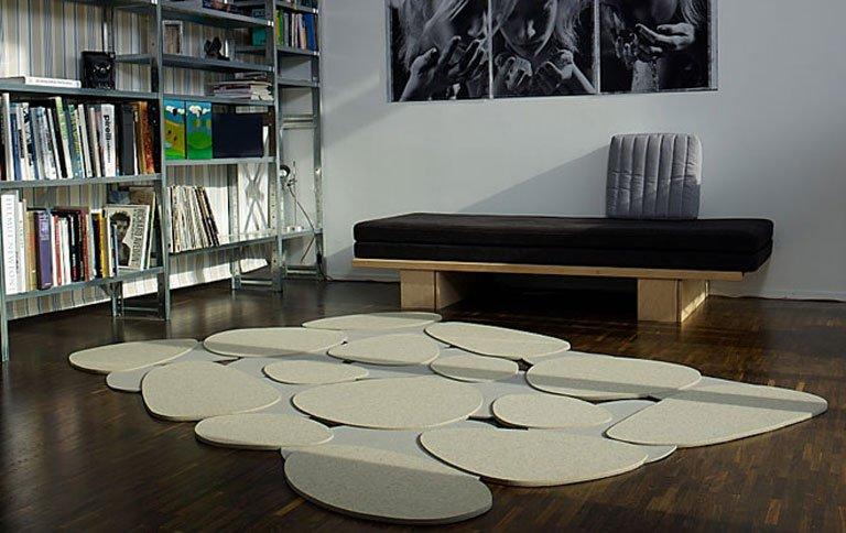 steinlandschaft aus filz als teppich sch ner wohnen. Black Bedroom Furniture Sets. Home Design Ideas