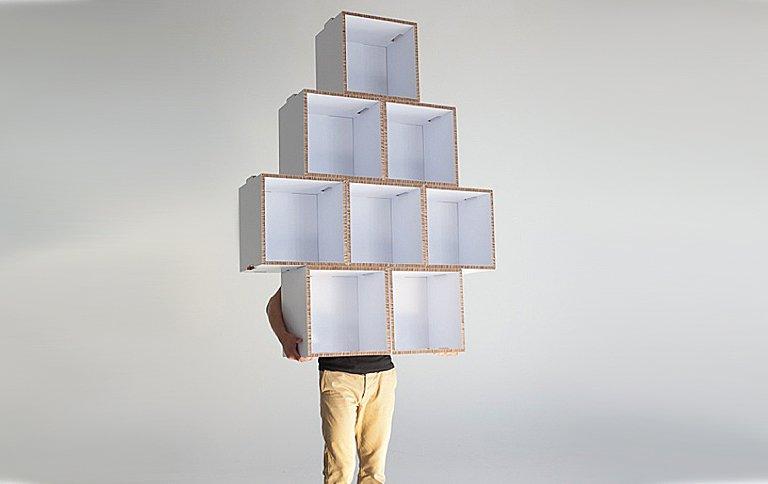 regalmodule aus wellpappe bei showroom finland sch ner wohnen. Black Bedroom Furniture Sets. Home Design Ideas