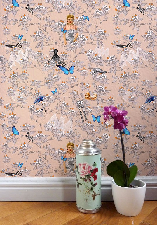 blumig papiertapete poppy flower von little greene tapeten trends 54 sch ner wohnen. Black Bedroom Furniture Sets. Home Design Ideas