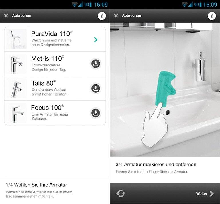 iphone android virtuelle armaturen hansgrohe home bild 12 sch ner wohnen. Black Bedroom Furniture Sets. Home Design Ideas