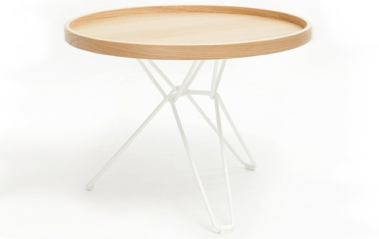 tabletttisch tio aus holz und lackiertem stahldraht sch ner wohnen. Black Bedroom Furniture Sets. Home Design Ideas