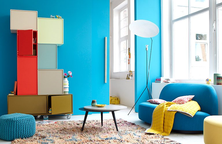 Wandfarben blaugrau