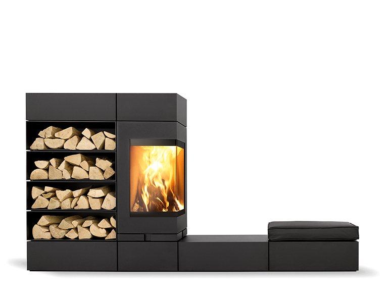 feuer modulares kaminsytem elements von skantherm. Black Bedroom Furniture Sets. Home Design Ideas