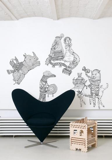 wandtattoo mit fantasievollen figuren hivibes von domestic bild 15 sch ner wohnen. Black Bedroom Furniture Sets. Home Design Ideas