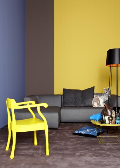 farbquartett gelb braun blau und grau trend