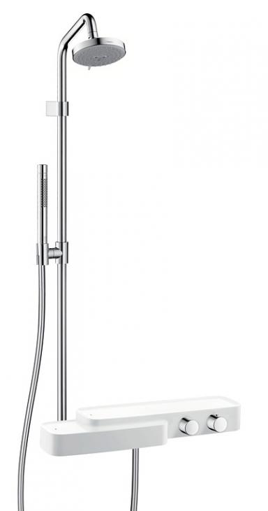 wellness f r die dusche duschgarnitur axor bouroullec von hansgrohe sch ner wohnen. Black Bedroom Furniture Sets. Home Design Ideas