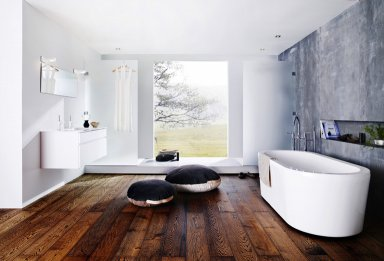 holz und stoff bringen wohnlichkeit badezimmer von kvik bild 10 sch ner wohnen. Black Bedroom Furniture Sets. Home Design Ideas