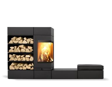 Feuer modulares kaminsytem elements von skantherm - Holzofen modern ...