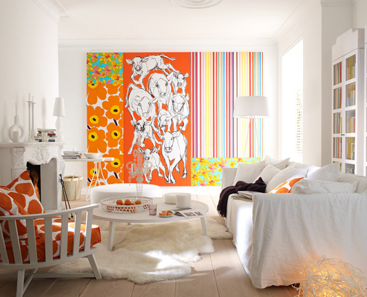 Awesome Wandgestaltung Wohnzimmer Orange Ideas - Rellik.us - rellik.us