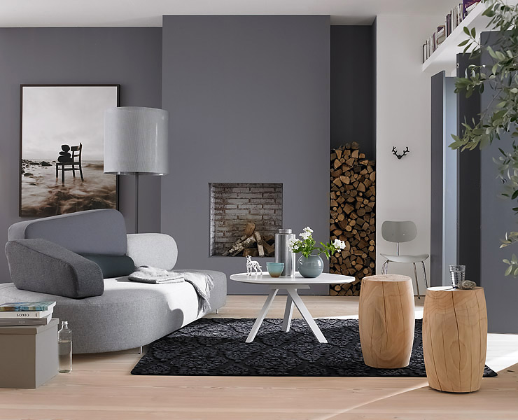 Wohnzimmer in der Trendfarbe Grau