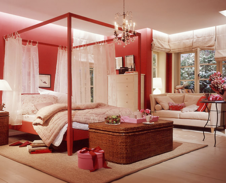 romantisches rot im schlafgemach schlafzimmer sch ner wohnen. Black Bedroom Furniture Sets. Home Design Ideas