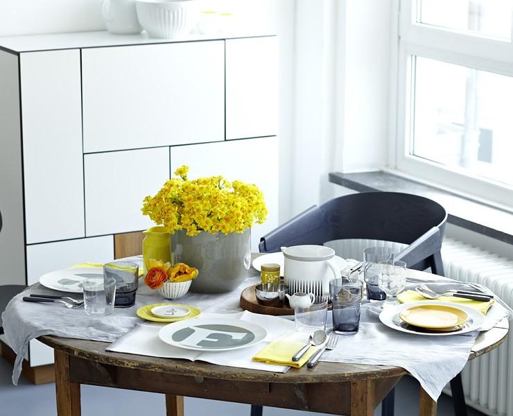 tischdeko in gelb esszimmer sch ner wohnen. Black Bedroom Furniture Sets. Home Design Ideas