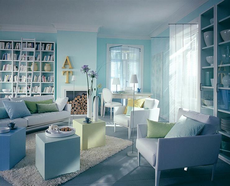 wohnzimmer in meeresfarben wohnzimmer sch ner wohnen. Black Bedroom Furniture Sets. Home Design Ideas