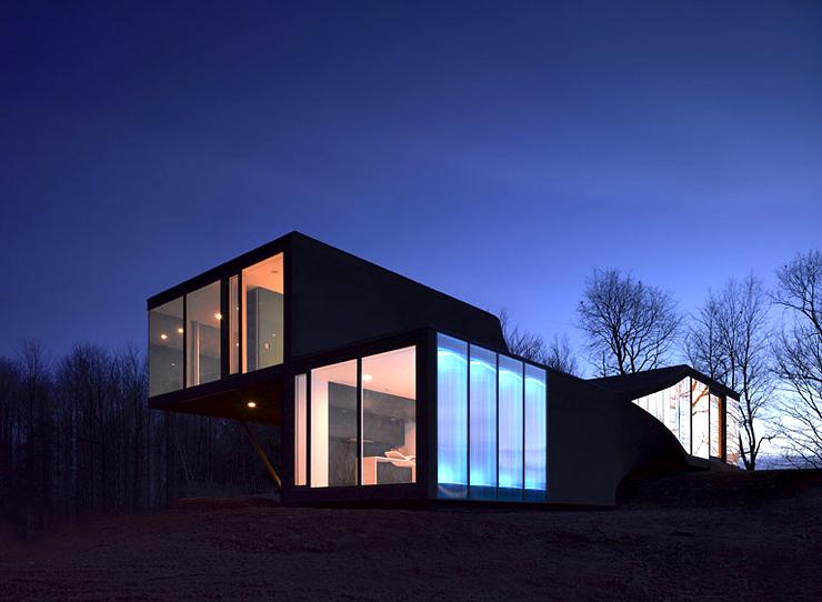 in sich gedrehte kubische villa sch ner wohnen. Black Bedroom Furniture Sets. Home Design Ideas