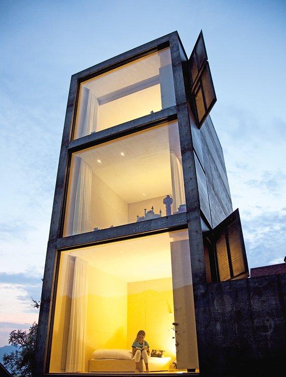 architektenh user anbau als wohnturm sch ner wohnen. Black Bedroom Furniture Sets. Home Design Ideas