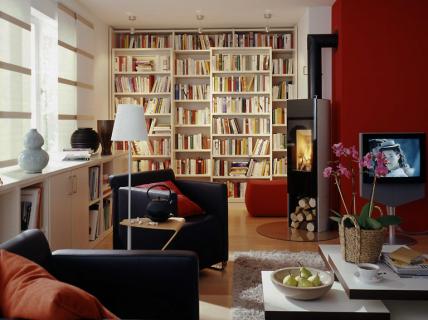 Harmonisches gesamtbild im multimedia wohnzimmer - Bibliothek wohnzimmer ...